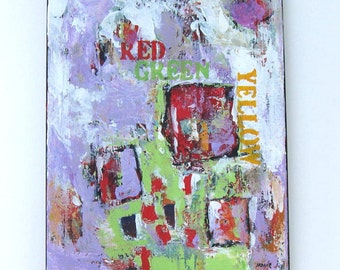 """Acrylic Abstract Painting, Expressionist urban words on Canvas, 11"""" x 14"""""""