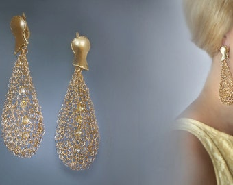 Long earrings, Gold earrings, Crocheted earrings, gold filled wire jewelry, Statement earrings.