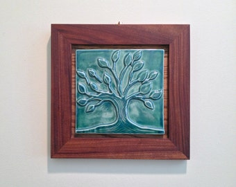 TREE OF LIFE- porcelain tile, green relief tile , Wall Hanging, In Stock.  Hand made walnut frame, wedding gift.