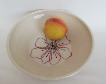 Red Poppy Flower Line Drawing Pottery Medium White Bowl