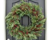 XL Winter Wreaths, Evergreen Wreath for Winter, Baby It's Cold Outside Wreath a Holiday Decor Wreath