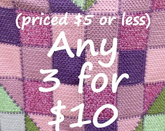 Any 3 Crochet Patterns up to 5 dollars each for only 10 dollars patterns for boys girls unisex infant baby teens men women Shawls blankets