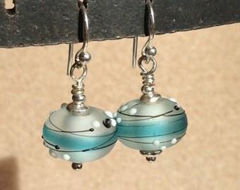 White & Aqua Lampwork earrings