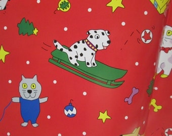 2 Sheets Christmas Gift Wrapping Paper Pet Cat Dog Red Green Vintage Gift Wrap Puppy Kitten Christmas Wrapping Paper Gift Wrap Sheet Lot ECO