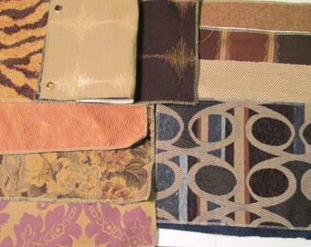 Fabric Samples 11 Upholstery Swatch Book 13 x 9 Chenille Tapestry Wristlet Clutch Doll House Scrap Pack Supplies Fabric Swatches Stripes Lot