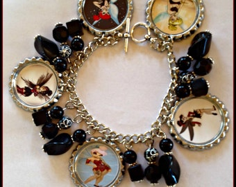 GOTH TINKERBELL Charm  Bracelet Unique Custom Themed & Sports Jewelry