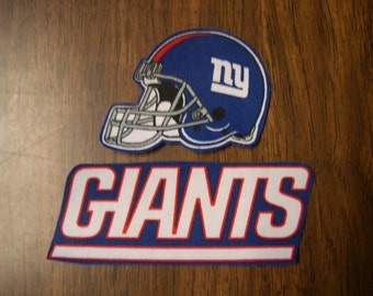 "NY Giants Iron on Cotton Patch 3"" x 2 1/2"" & 5"" x 2"". NEW"