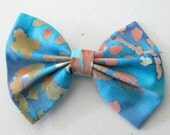 Blue and Orange Watercolor Patterned Fabric Bow