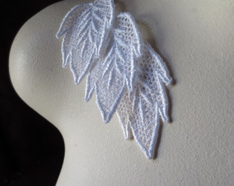6 White Leaves Lace Appliques for Bridal, Jewelry, Headbands, Applique, Costumes