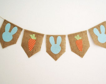 Shabby Easter Bunny and Carrot Banner Bunting in Blue by sweetcarolinehome