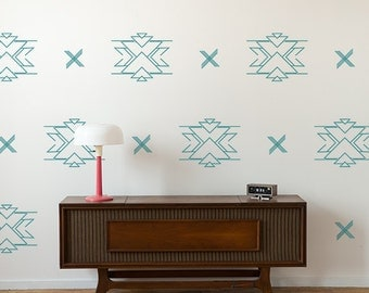 Vinyl Wall Decals, Reverse Aztec Pattern- 24 Graphics, Wallpaper, Stickers,  item 10042