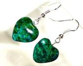 Azurite Chrysocolla Heart Drop Earrings - Perfect Valentine Gift