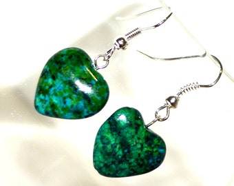 Azurite Chrysocolla Heart Drop Earrings - Perfect Valentine Gift