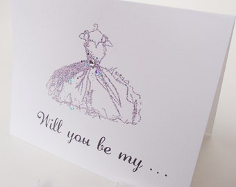 SALE-Will you be my...Card-Handstamped- Inside stamped with Bridesmaid, Maid/Matron of Honor, Flower Girl- This is per card
