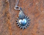 SH2 Mesilla Burning Sacred Heart Sterling Silver Southwestern Native Style Pendant or Charm