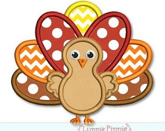 Thanksgiving TURKEY Applique Machine Embroidery Design File INSTANT Download 4x4 5x7 6x10 PES + 8 formats
