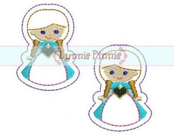 Snow Princess FELT CLIPPIES 4x4  Machine Embroidery Design clips felties