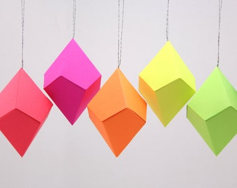 Geometric Paper Ornaments - Neon Bright Rainbow - Set of 8 -  template, pattern, DIY, origami, christmas ornament, party favor