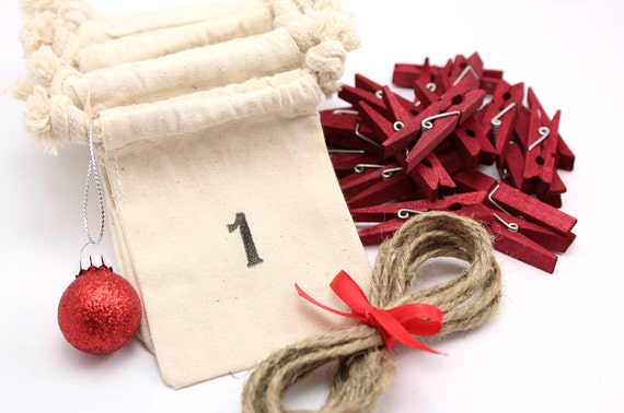 Countdown to Christmas Advent Calendar Bags- FREE Priority Mail Shipping! - 25 Days of Christmas, muslin drawstring bags