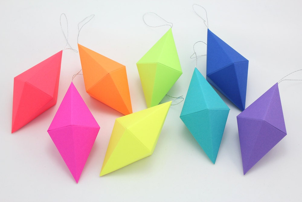 Paper gem templates ornaments neon bright rainbow set of 8 for How to make paper projects