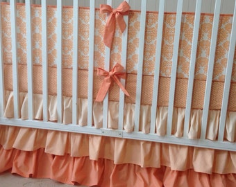 Peach and White Damask Crib Bedding Set Made to Order