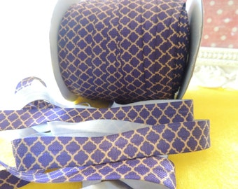 "5 Yards of 5/8"" Purple and Gold Mosaic  Fold Over Elastics FOE"