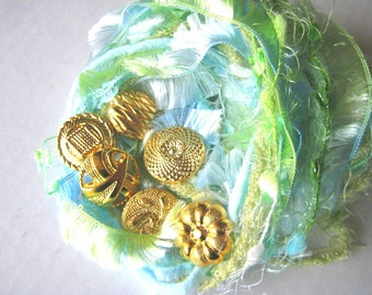 CARIBBEAN Specialty Yarn Fiber Embellishment Bundle with buttons - Altered Arts, Jewelry - 5 or more bundles 10% off