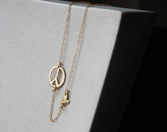 Modern Peace Love Necklace- Hand Cut Abstract Peace Sign and Tiny Heart in 10k Gold