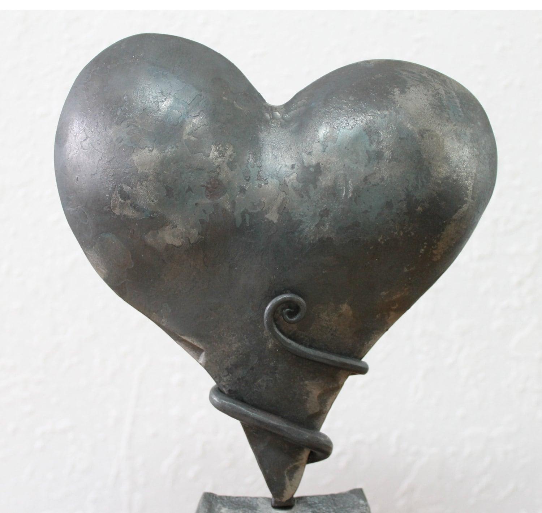 Iron Wedding Anniversary Gift: Iron Anniversary Gift Heart Sculpture Personalized 6th