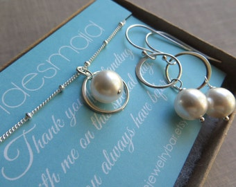 Bridesmaid gift, Eternity necklace & earrings, Bridesmaid pearl jewelry sets, thank you card, sterling silver circle link necklace