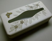Fancy White Tin Tissue Box With Butterfly and Flowers by Ransburg
