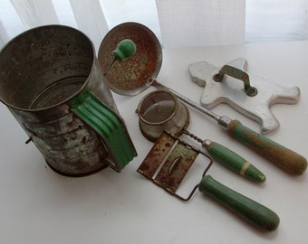 Instant Collection of Green Handled Kitchen Tools
