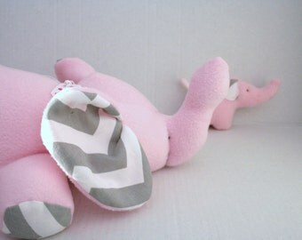 Stuffed Animal Elephant toy Pink Fleece with Gray Chevron fabric