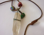 70s Quartz Crystal Necklace w Trade Beads and Tuquoise on Leather Cord