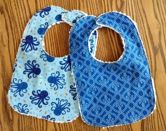 Set of 2 Baby Bibs, Blue Anchors and Octopuses, Chenille Back, Snap Closure
