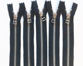YKK metal zippers with nickel teeth and DHR Wire style pull- (5) pieces - Black Color 580- Available in 6,7, 9, 11 and 18 Inch