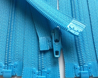 Separating Zippers- Parrot Blue 547- 5 Pieces 3mm Nylon Coil YKK - Available in sizes 6,7,8 and 10 Inch