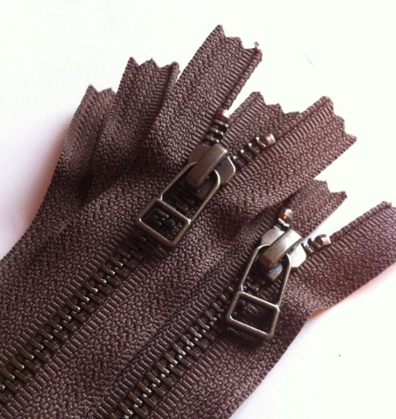 YKK metal zippers with antique brass finish and DHR style pull- (5) pieces - Chocolate Brown 009- Available in 7,9,10,12,14,16 and 18 Inch