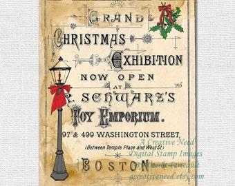 Digital Art Print Vintage Christmas Exhibit Sign, INSTANT DOWNLOAD Original printable art, Affordable Art