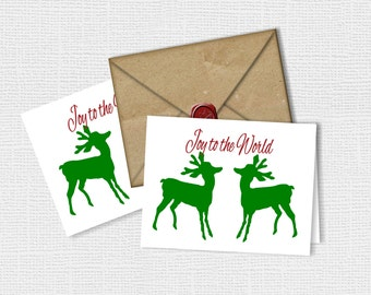 Printable Cards, INSTANT DOWNLOAD. DIY Printable, Joy to the World Deer Christmas Cards
