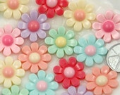 20mm Cute Pastel Daisy Flower Flatback Resin Cabochons - 6 pc set