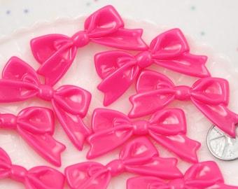 Resin Bow Cabochons - 47mm Elegant Bright Fuchsia Hot Pink Ribbon Cabochons - 6 pc set