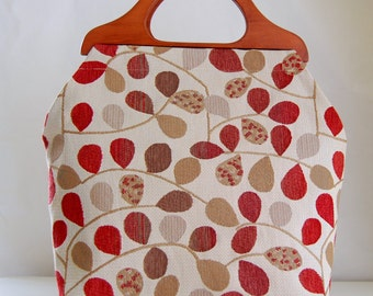 Bayberry Rouge Large Craft Project Tote/ Knitting Tote Bag - READY TO SHIP
