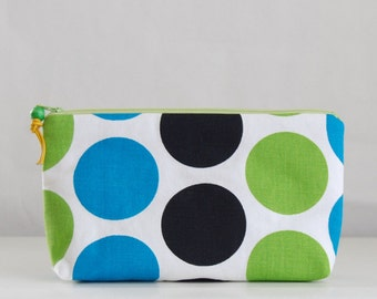 Dandi Dots Wide Padded Zipper Pouch Gadget Case Cosmetics Bag - READY TO SHIP