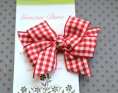 RESERVED listing for teredealba2000 ONLY....Set of 15 Red Gingham MINI Diva Bows