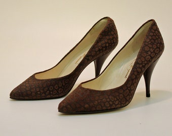 60's Suede Croc Look  Pumps / Brown /  Stiletto / Pointy Toe / Size 7
