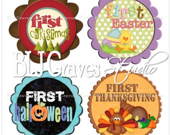 Monthly Milestone Stickers Baby Girl Boy Bodysuit Stickers Baby Month Stickers Christmas Thanksgiving Halloween Easter MS002