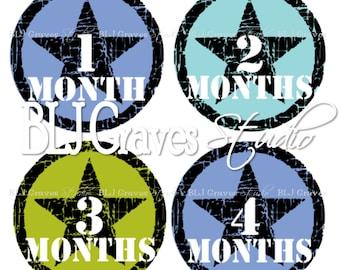 Monthly Milestone Stickers Baby Boy Bodysuit Stickers Baby Month Stickers MS003