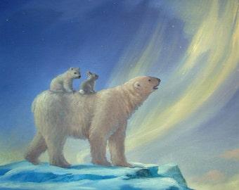 Isabella and Aurora Borealis, Northern Lights. polar bear