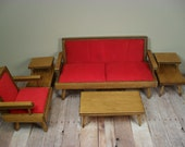 Vintage Playscale Doll Furniture - Hall's Lifetime Toys Early American Living Room Set - LARGER COUCH